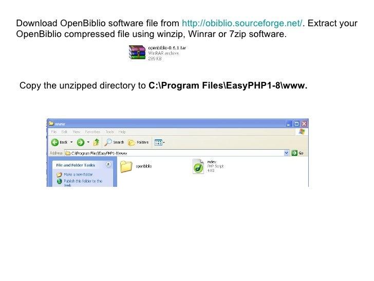 Installation of Openbiblio using Easyphp