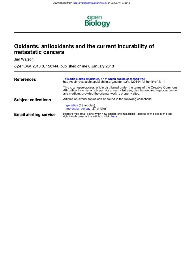 Downloaded from rsob.royalsocietypublishing.org on January 10, 2013Oxidants, antioxidants and the current incurability ofm...
