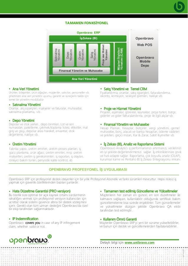 Openbravo Web Tabanlı Çevik ERP Broşürü Slide 3