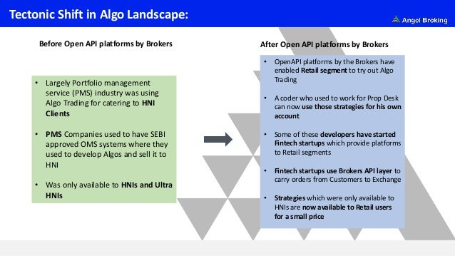 Tectonic Shift in Algo Landscape: • Largely Portfolio management service (PMS) industry was using Algo Trading for caterin...
