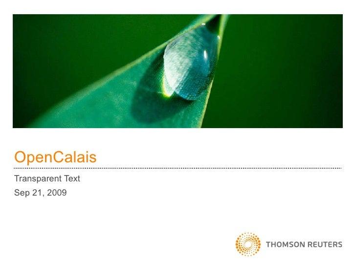 OpenCalais Transparent Text Sep 21, 2009