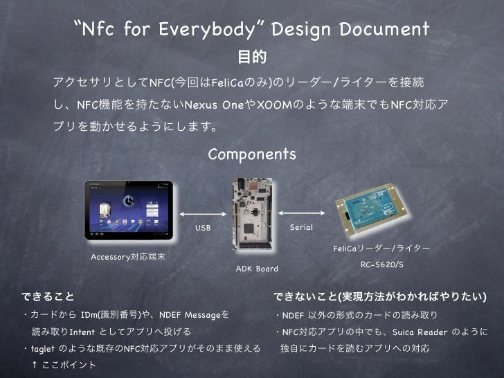 """Nfc for Everybody"" Design Document                              NFC(          FeliCa    )               /          NFC   ..."