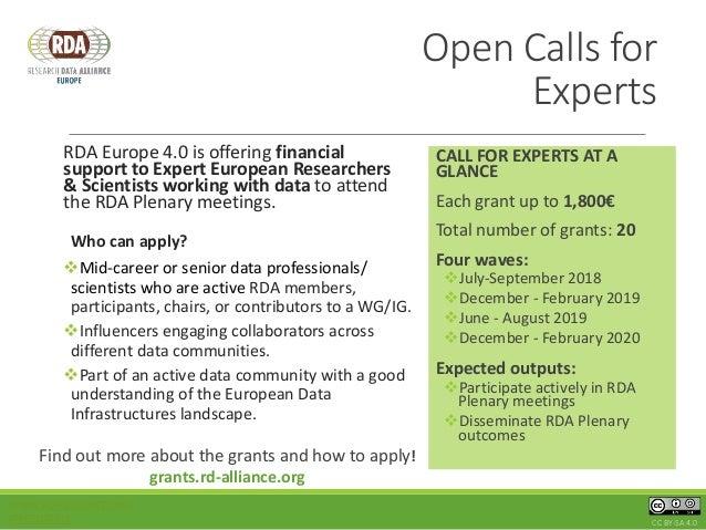 RDA 4.0 - Open Calls Slide 3