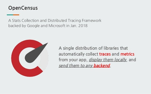 OpenCensus A single distribution of libraries that automatically collect traces and metrics from your app, display them lo...