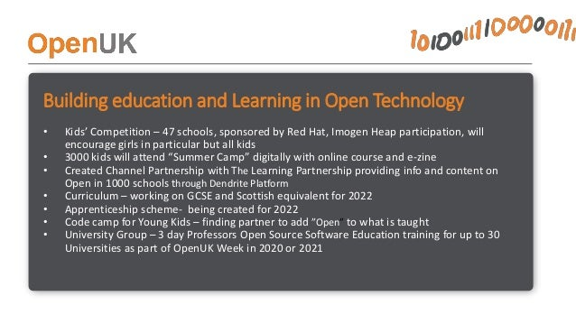 How is OpenUK being run? • CEO – paid part time working full time – speaking, inspiring, leading • Admin resource – day or...