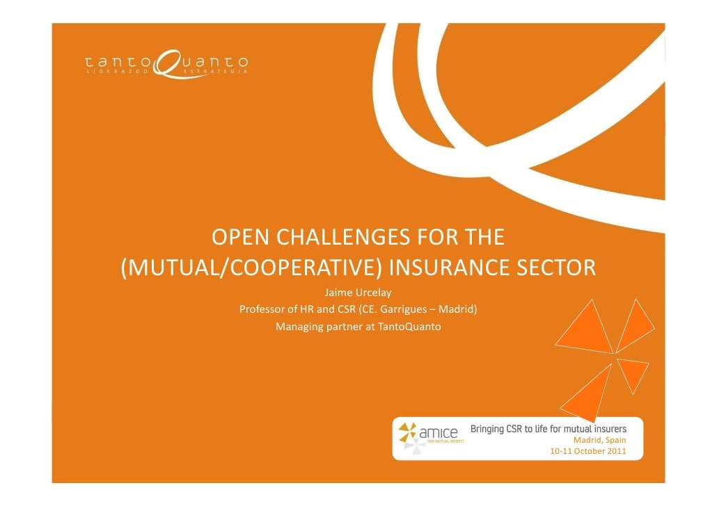 OPEN CHALLENGES FOR THE(MUTUAL/COOPERATIVE) INSURANCE SECTOR                          Jaime Urcelay         Professor of H...