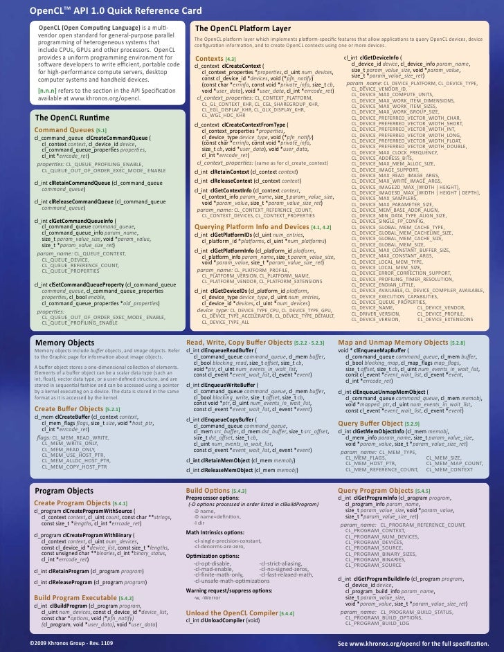 OpenCLTM API 1.0 Quick Reference Card    OpenCL (Open Computing Language) is a multi-                          The OpenCL ...