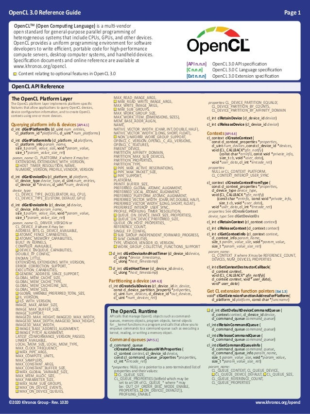 OpenCL 3.0 Reference Guide Page 1 ©2020 Khronos Group - Rev. 1020 www.khronos.org/opencl OpenCL API The OpenCL Runtime API...