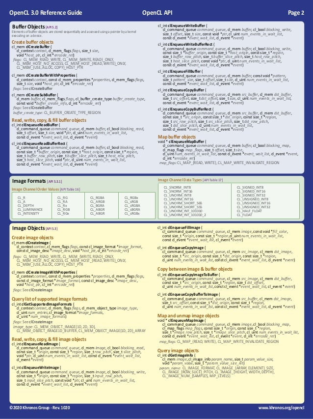 OpenCL 3.0 Reference Guide Slide 2