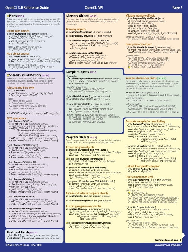 OpenCL 3.0 Reference Guide Slide 3