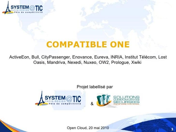 COMPATIBLE ONE ActiveEon, Bull, CityPassenger, Enovance, Eureva, INRIA, Institut Télécom, Lost             Oasis, Mandriva...