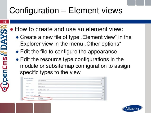 """●How to create and use an element view:  ●Create a new file of type """"Element view"""" in the Explorer view in the menu """"Other..."""