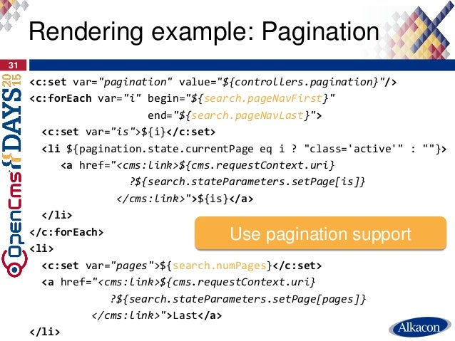 """<c:set var=""""pagination"""" value=""""${controllers.pagination}""""/> <c:forEach var=""""i"""" begin=""""${search.pageNavFirst}"""" end=""""${searc..."""