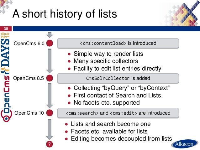 38 A short history of lists ● Simple way to render lists ● Many specific collectors ● Facility to edit list entries direct...