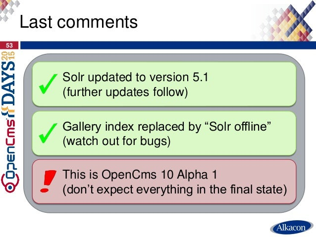 """53 Last comments Solr updated to version 5.1 (further updates follow) Gallery index replaced by """"Solr offline"""" (watch out ..."""