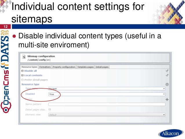 ● Disable individual content types (useful in a multi-site enviroment) 12 Individual content settings for sitemaps
