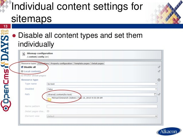 ● Disable all content types and set them individually 13 Individual content settings for sitemaps