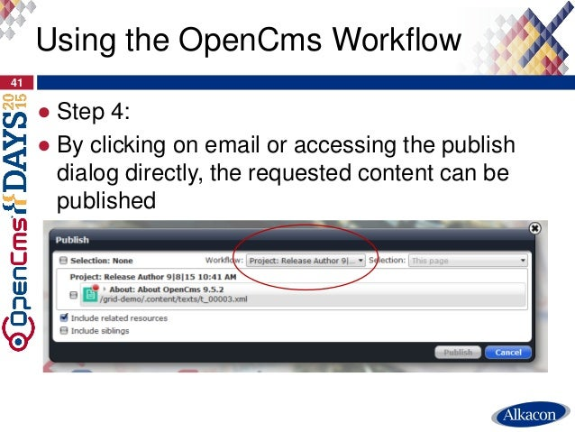 ● Step 4: ● By clicking on email or accessing the publish dialog directly, the requested content can be published 41 Using...