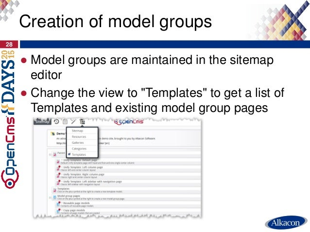 """● Model groups are maintained in the sitemap editor ● Change the view to """"Templates"""" to get a list of Templates and existi..."""