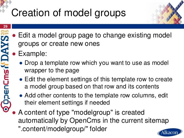 ● Edit a model group page to change existing model groups or create new ones ● Example: ● Drop a template row which you wa...