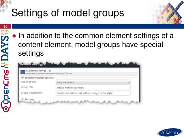 ● In addition to the common element settings of a content element, model groups have special settings 30 Settings of model...