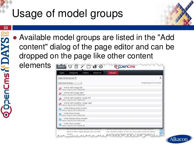 """● Available model groups are listed in the """"Add content"""" dialog of the page editor and can be dropped on the page like oth..."""