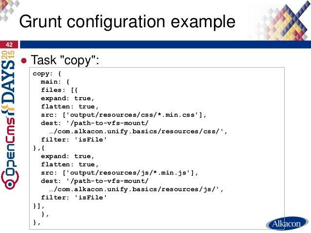 "● Task ""copy"": 42 Grunt configuration example copy: { main: { files: [{ expand: true, flatten: true, src: ['output/resourc..."