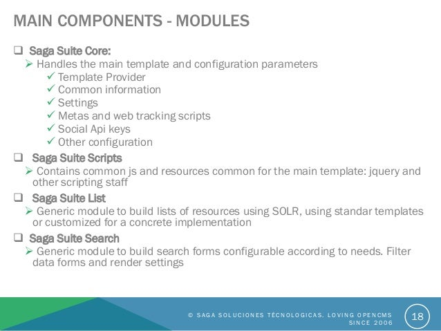 MAIN COMPONENTS - MODULES  Saga Suite Core:  Handles the main template and configuration parameters  Template Provider ...