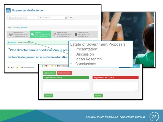 25© SAGA SOLUCIONES TÉCNOLOGICAS. LOVING OPENCMS SINCE 2006 Estate of Government Proposals • Presentation • Discussion • I...
