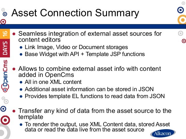 ● Seamless integration of external asset sources for content editors ● Link Image, Video or Document storages ● Base Widge...