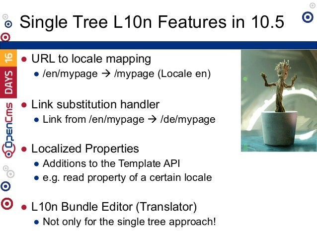 ● URL to locale mapping ● /en/mypage à /mypage (Locale en) ● Link substitution handler ● Link from /en/mypage à /de/mypage...