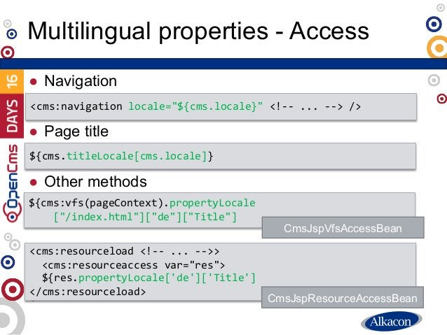 """● Navigation ● Page title ● Other methods ● ● ● Multilingual properties - Access <cms:navigation locale=""""${cms.locale}"""" <!..."""