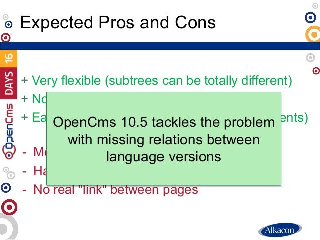 + Very flexible (subtrees can be totally different) + No SEO problems + Easy to understand (no implicit link adjustments) ...