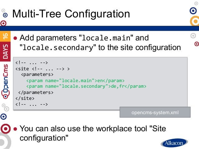 """● Add parameters """"locale.main"""" and """"locale.secondary"""" to the site configuration ● You can also use the workplace tool """"Sit..."""