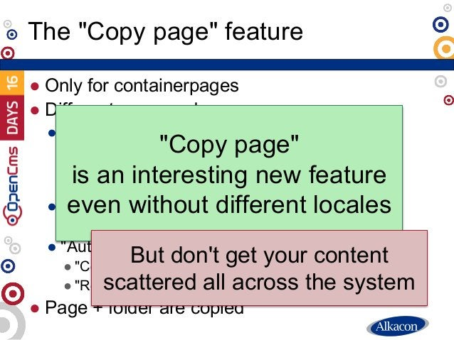 """● Only for containerpages ● Different copy modes ● """"Copy"""": Copy all suitable elements ● Option """"Copy this element"""" on elem..."""