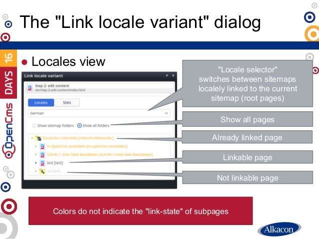 """● Locales view The """"Link locale variant"""" dialog """"Locale selector"""" switches between sitemaps localely linked to the current..."""