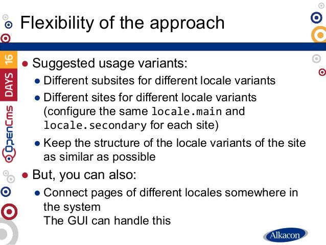 ● Suggested usage variants: ● Different subsites for different locale variants ● Different sites for different locale vari...