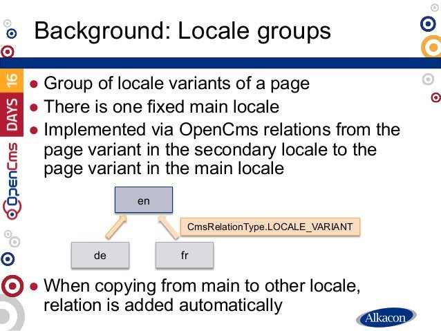 ● Group of locale variants of a page ● There is one fixed main locale ● Implemented via OpenCms relations from the page va...