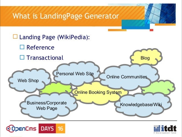 OpenCms Days 2016: A landing page generator based on OpenCms