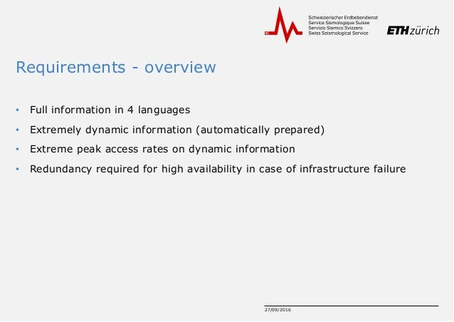 Requirements - overview • Full information in 4 languages • Extremely dynamic information (automatically prepared) • Extre...