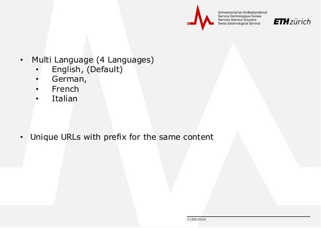 27/09/2016 • Multi Language (4 Languages) • English, (Default) • German, • French • Italian • Unique URLs with prefix for ...