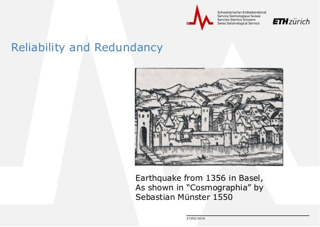 """27/09/2016 Reliability and Redundancy Earthquake from 1356 in Basel, As shown in """"Cosmographia"""" by Sebastian Münster 1550"""