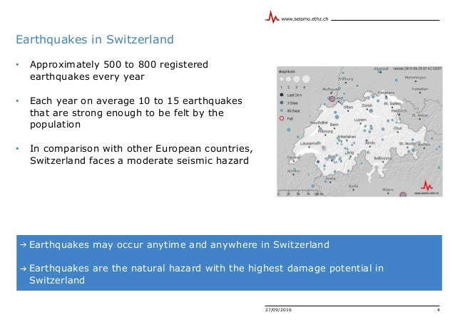 27/09/2016 4 Earthquakes in Switzerland Earthquakes may occur anytime and anywhere in Switzerland Earthquakes are the natu...