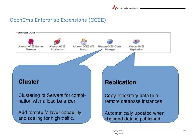 27/09/2016 28 11/10/15 OpenCms Enterprise Extensions (OCEE) Cluster Clustering of Servers for combi- nation with a load ba...