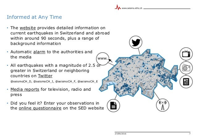 27/09/2016 7 Informed at Any Time • The website provides detailed information on current earthquakes in Switzerland and ab...