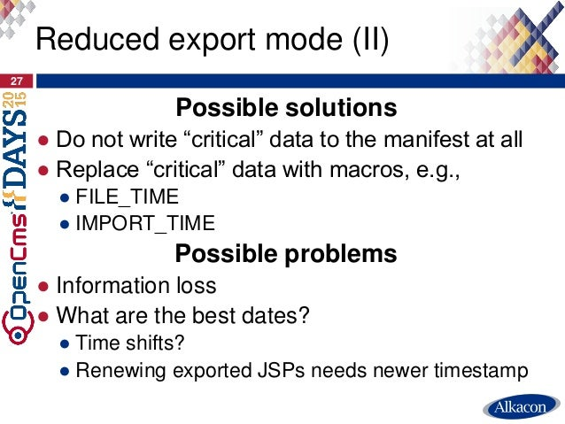 """Possible solutions ● Do not write """"critical"""" data to the manifest at all ● Replace """"critical"""" data with macros, e.g., ● FI..."""