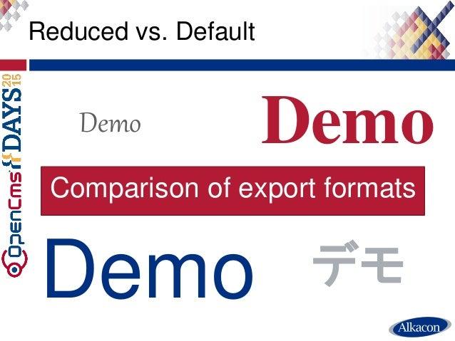 ● Live Demo Reduced vs. Default Demo Demo Demo Demo デモ Comparison of export formats