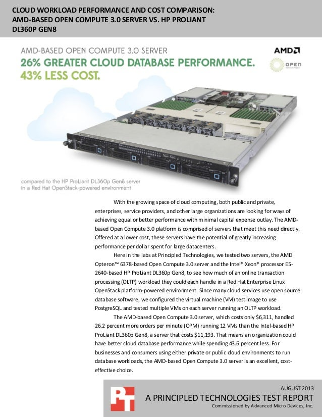 AUGUST 2013 A PRINCIPLED TECHNOLOGIES TEST REPORT Commissioned by Advanced Micro Devices, Inc. CLOUD WORKLOAD PERFORMANCE ...