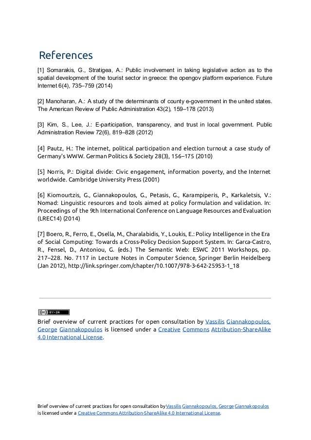 References [1] Somarakis, G., Stratigea, A.: Public involvement in taking legislative action as to the          ...
