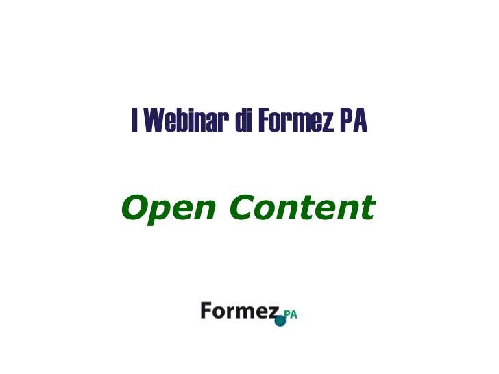 Open Content I Webinar di Formez PA